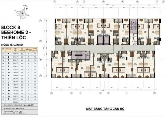 Mặt bằng tầng Bee Home 2